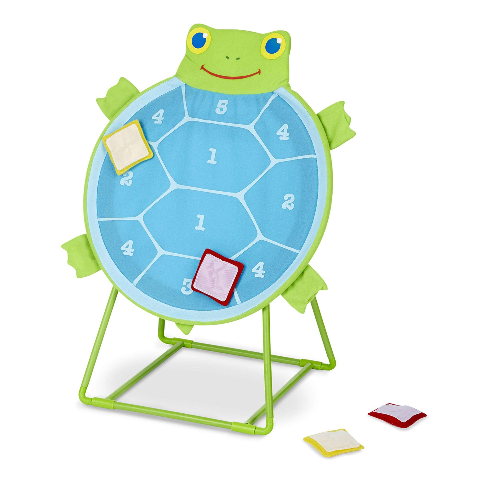 Melissa & Doug Sunny Patch Dilly Dally Tootle Turtle Target Game, Active Play & Outdoor, Two Color Bean Bags, Self-Sticking Bean Bags, 22'' H x 14.7'' W x 2'' L