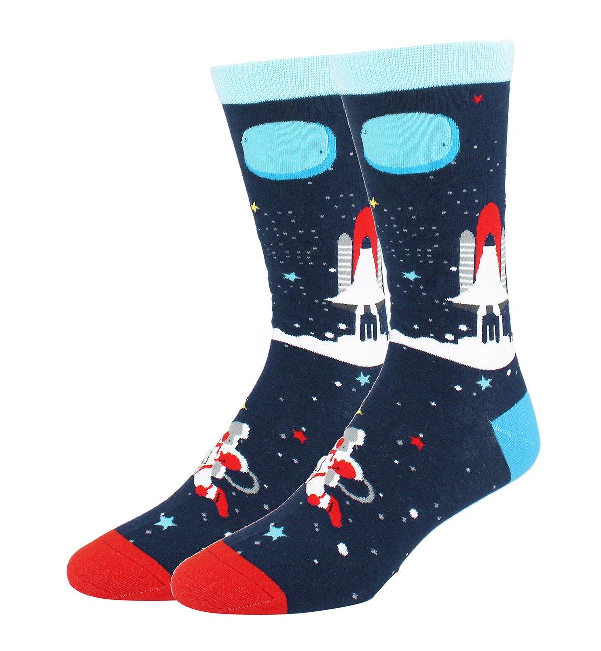 Happypop Mens Funny Crew Socks Novelty Crazy Cotton Dress Socks Cool Space Rocket Whale Socks for Men