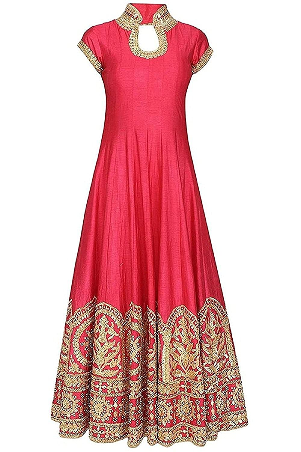 Buy Skyward Creation Coral Red Color Latest Designer Party Wear Traditional Indo Western Long Gown Semi Stitched Free Size For Marriage And Wedding Ceremony On Benglori Silk With Heavy Embroidery Work For Girls Women Premium Quality