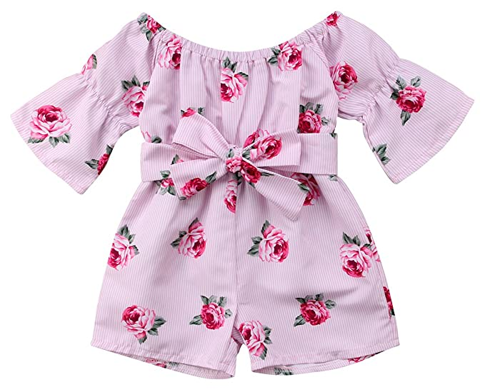 4863cde7039 YT couple Baby Girl s Off Shoulder One Piece Flower Print Long Sleeve  Striped Short Pants Romper