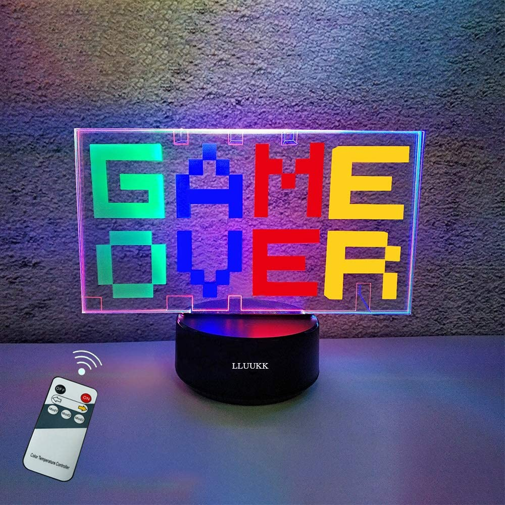 3D Illusion Lamps Game Over Remote Control Smart Night Light for Kids Boys Girls Bedroom Room Decor Lights 4 Colors Change Decors LED Desk Table Lamp Birthday New Year