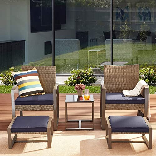 PatioFestival 5 Pieces Wicker Patio Furniture Set Patio Conversation Set Outdoor Patio Chairs Seat Cushions