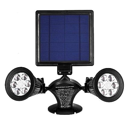 Luz De Sensor Solar, 8 LED Doble Cabeza Impermeable 360 Grado ...