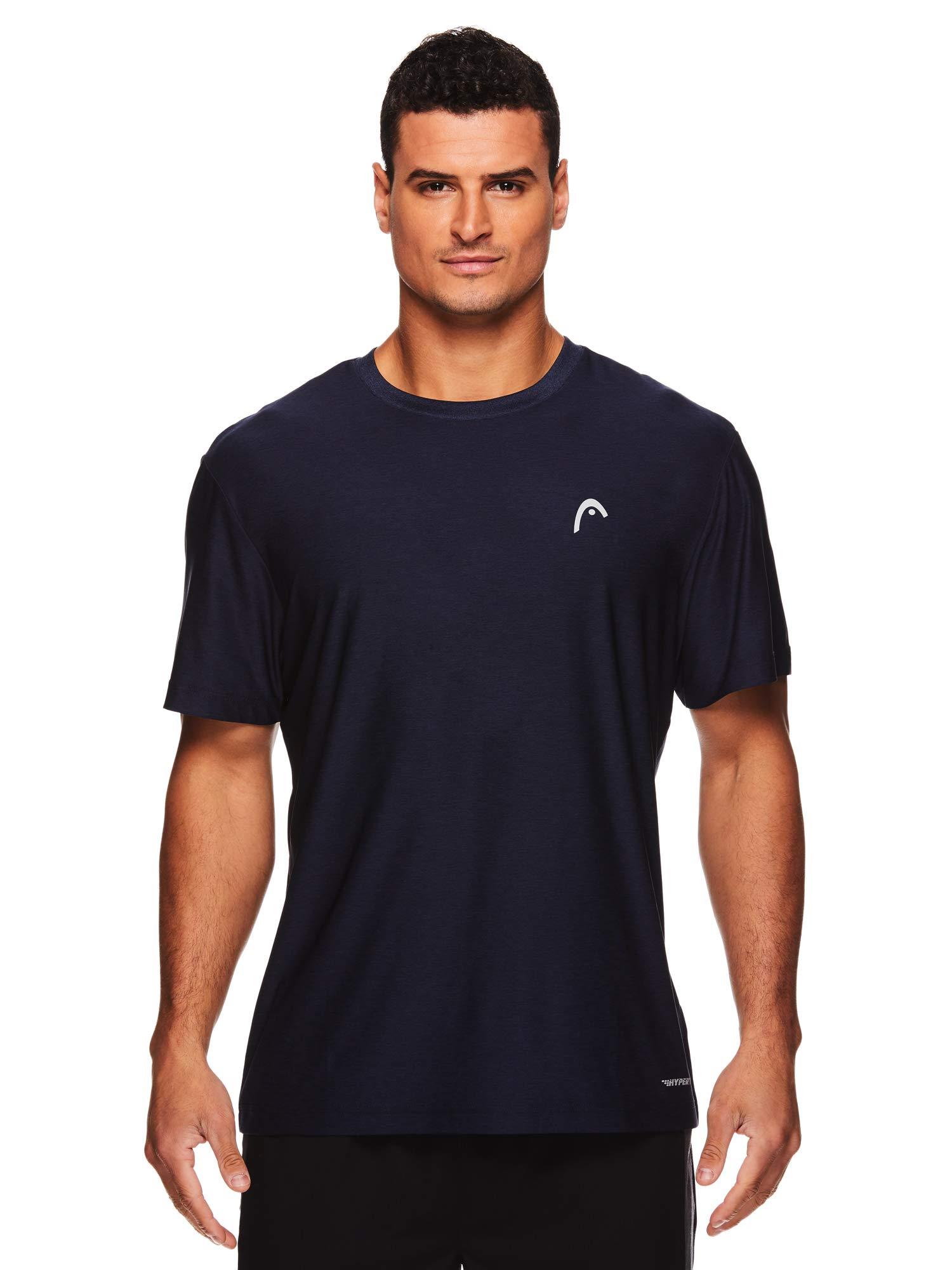 HEAD Men's Hypertek Crewneck Gym Tennis & Workout T-Shirt - Short Sleeve Activewear Top - Score Hypertek Navy Heather, Small