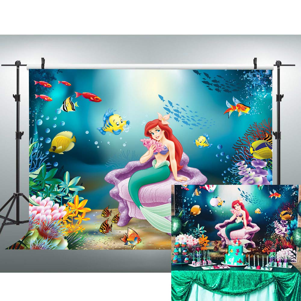 VVM 7x5ft Mermaid Backdrop Underwater World Photography Background for Baby Shower Pictures Children's Theme Birthday Party Decoration Props LXVV836 by VVM