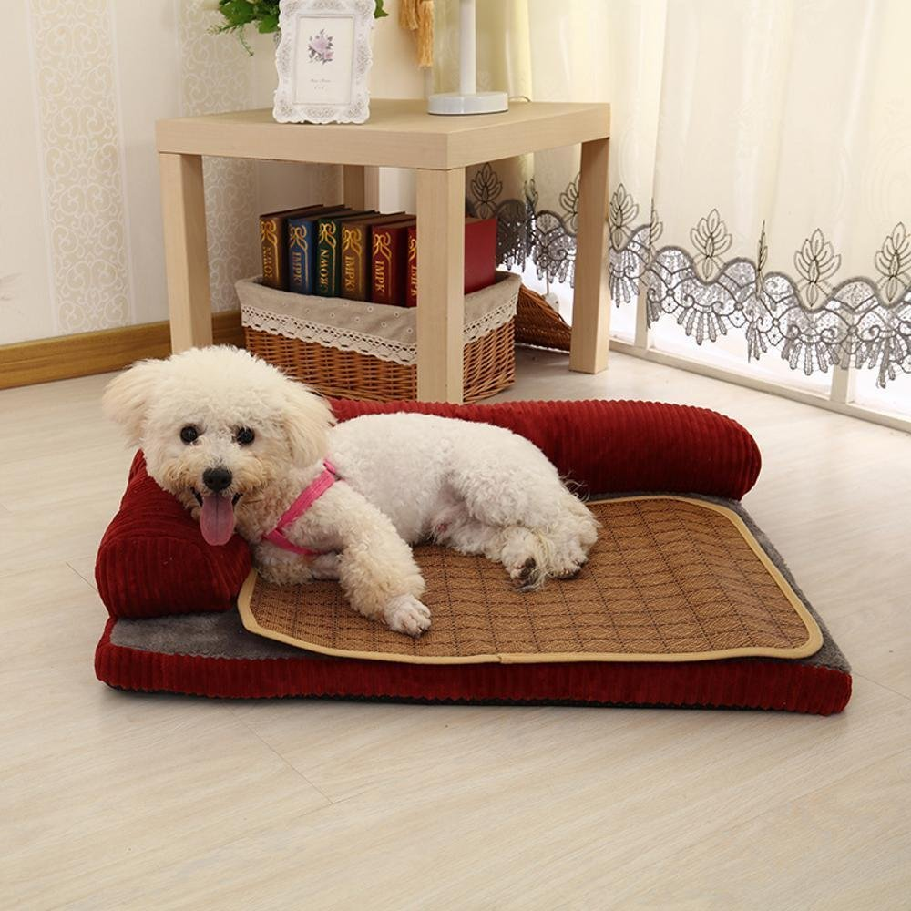 B 907020 B 907020 WUTOLUO Pet Bolster Dog Bed Comfort Washable kennel Four Seasons dog sofa dog bed mat Corduroy (color   B, Size   90  70  20)
