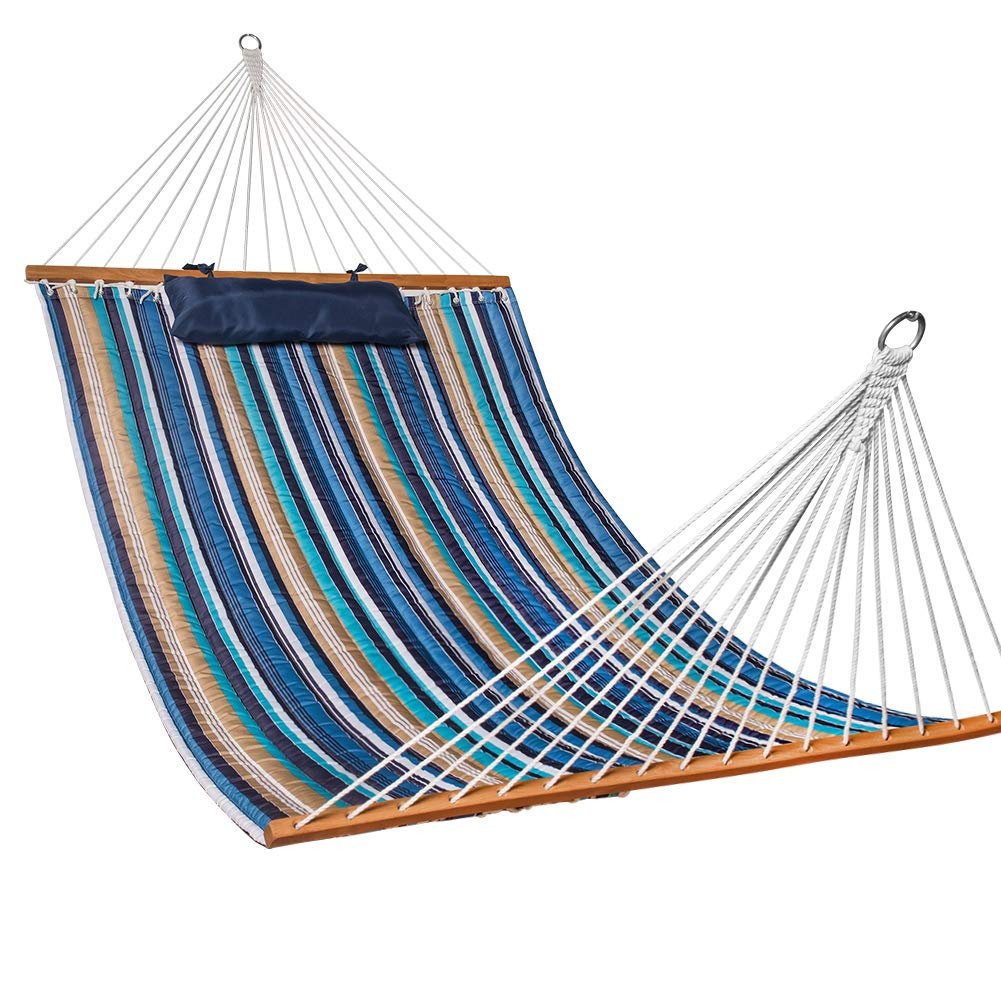 Lazy Daze Hammocks Quilted Fabric Double Size Spreader Bar Heavy Duty Stylish Hammock Swing with Pillow for Two Person, Seaside