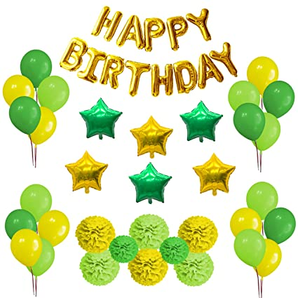 OFF Party Decorations Set Happy Birthday Decoration Banner And Balloons Elegant Lime