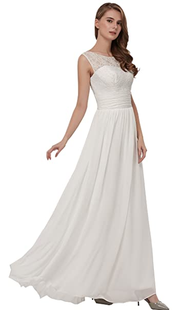 Ever Girl Wedding Dress For Women A Line Simple Beach Wedding Dresses  Chiffon Gown White- 84fba4cffa