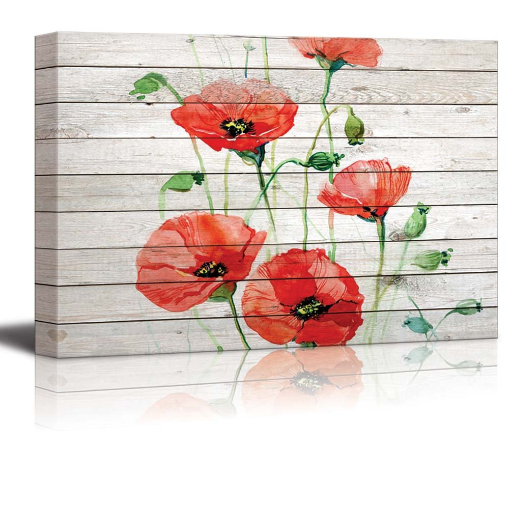 Watercolor Red Poppy Flowers Over Wood Panels Canvas Art Wall26