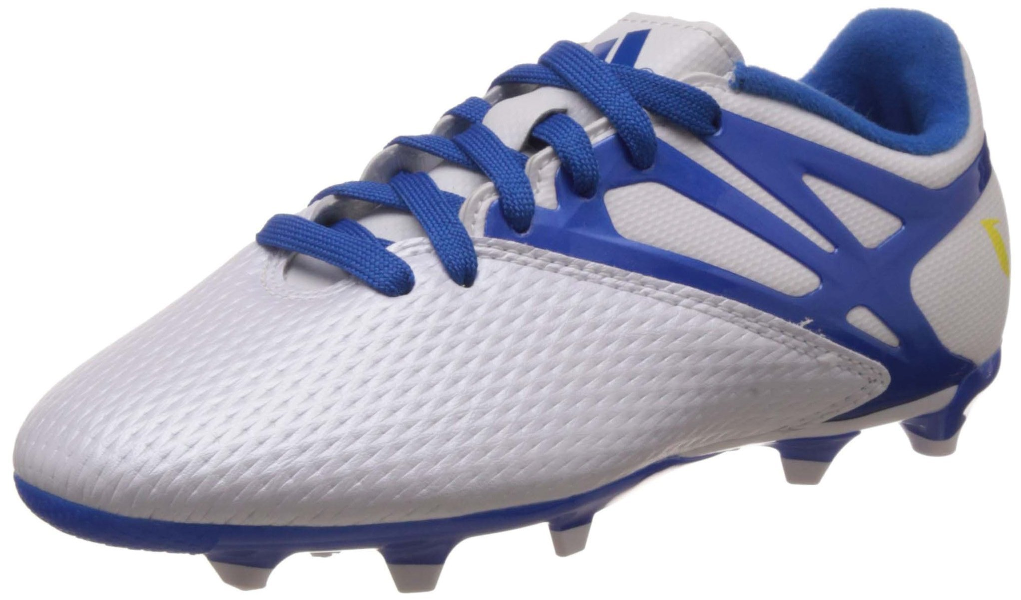 adidas Messi 15.3 FG/AG White Junior Soccer Cleats, Size 3.5
