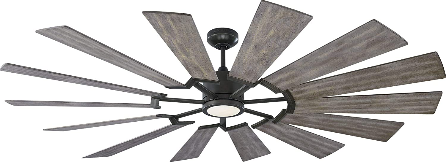 Monte Carlo Fans 14PRR72AGPD Prairie Grand Windmill Energy Star 72 Outdoor Ceiling Fan with LED Light and Hand Remote Control, 14 Wood Blades, Aged Pewter-Light Grey Weathered Oak Blades