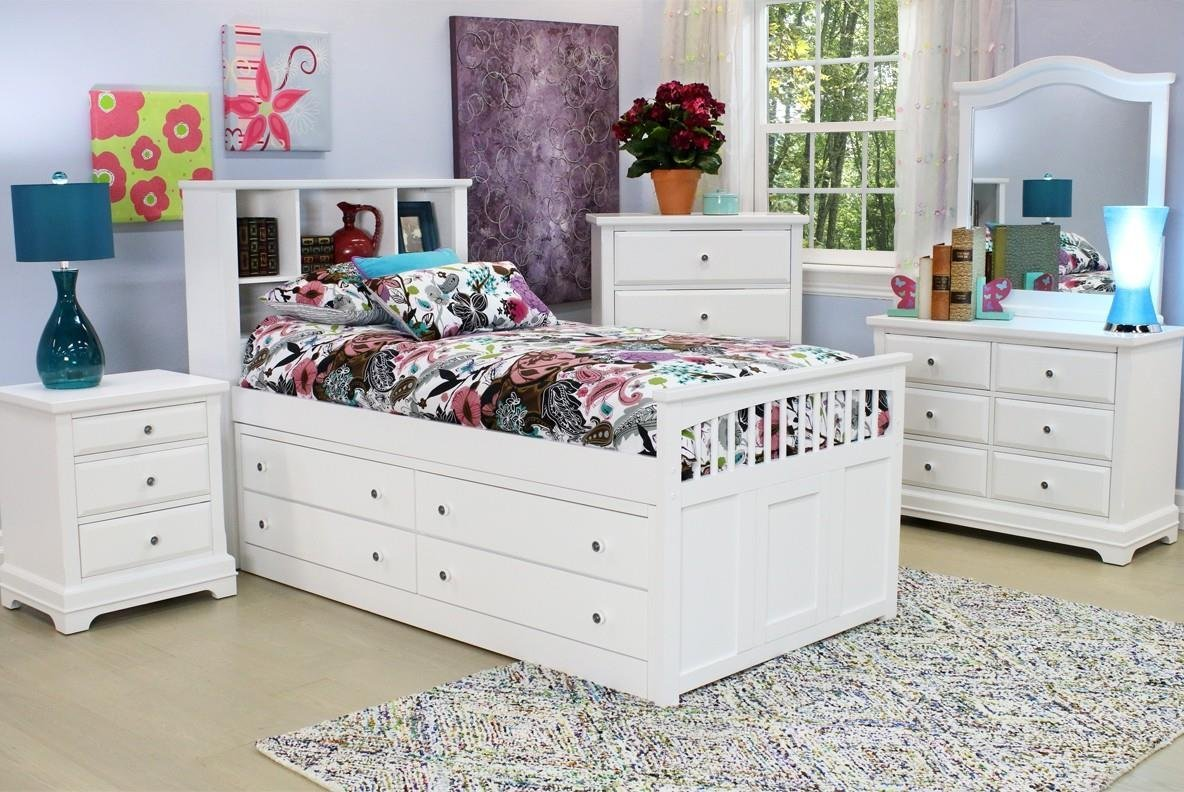 Beatrice Youth 5 Piece Twin Captain's Bedroom Set in White Finish
