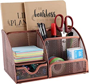 EasyPAG Mesh Desk Organizer Office Supplies Caddy 6 Compartments with Drawer,Rose Gold