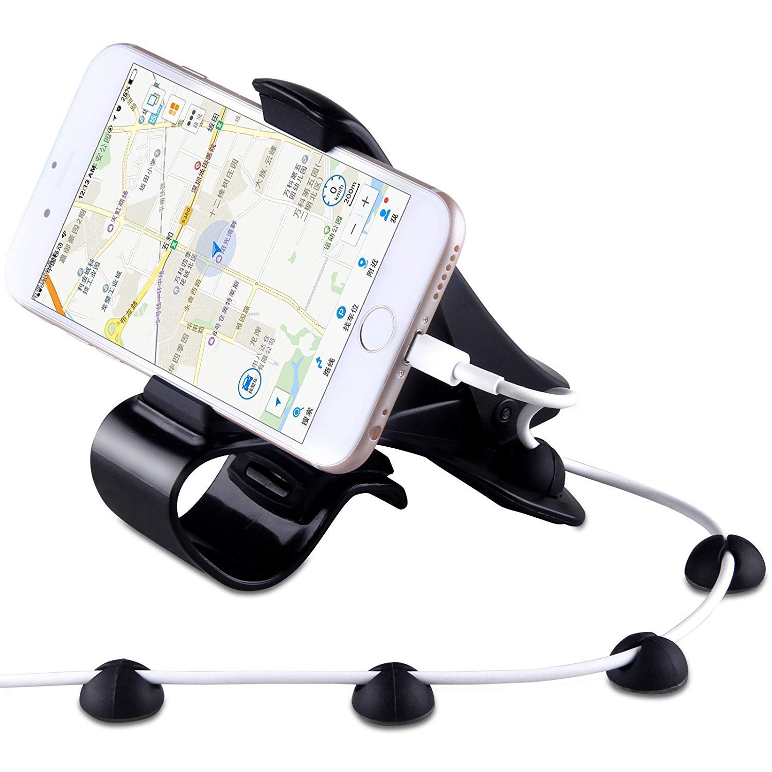 Phone Holder for car Suitable:3.5-6.5 in URUTOREO Car Phone Holder Mount HUD Design with Cable Clips Durable Dashboard car Mount for iPhone Xs MAX//X//8//7//6//6S Plus//Samsung Huawei,etc No Blocking for Sight