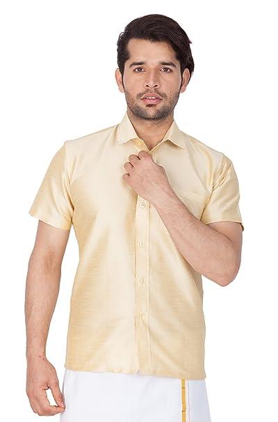 8e81774ea69ed3 VASTRAMAY Men Cotton Silk Ethnic Shirt (Gold VASMSHGO001)  Amazon.in ...