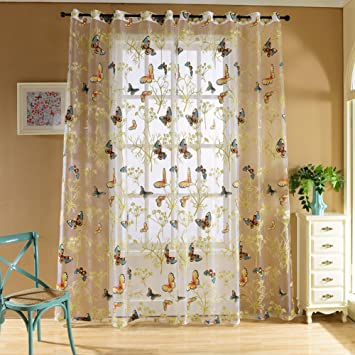 Charmant Edal Butterfly Floral Sheer Window Curtains Voile Decor Tulle Valance  Curtain