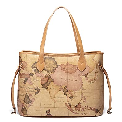 Leather handbag shoulder bag hobo bag world map design amazon leather handbag shoulder bag hobo bag world map design gumiabroncs Choice Image