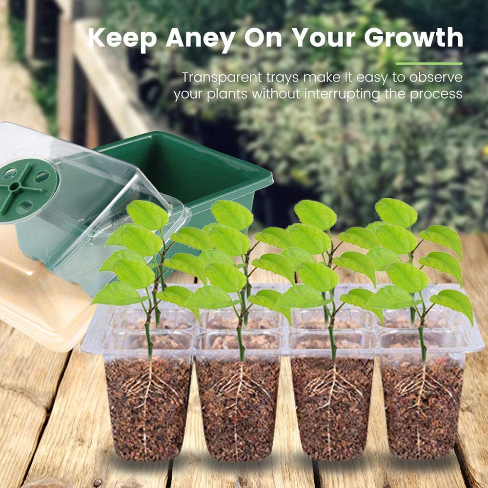 3 Pcs Seedling Trays,Seed Sprouting Trays with Lid Indoor Grow Plant Pots Each 12 Cells Seedling Trays for Greenhouse Plant for Seeding Germination Plant Growing 3 pcs