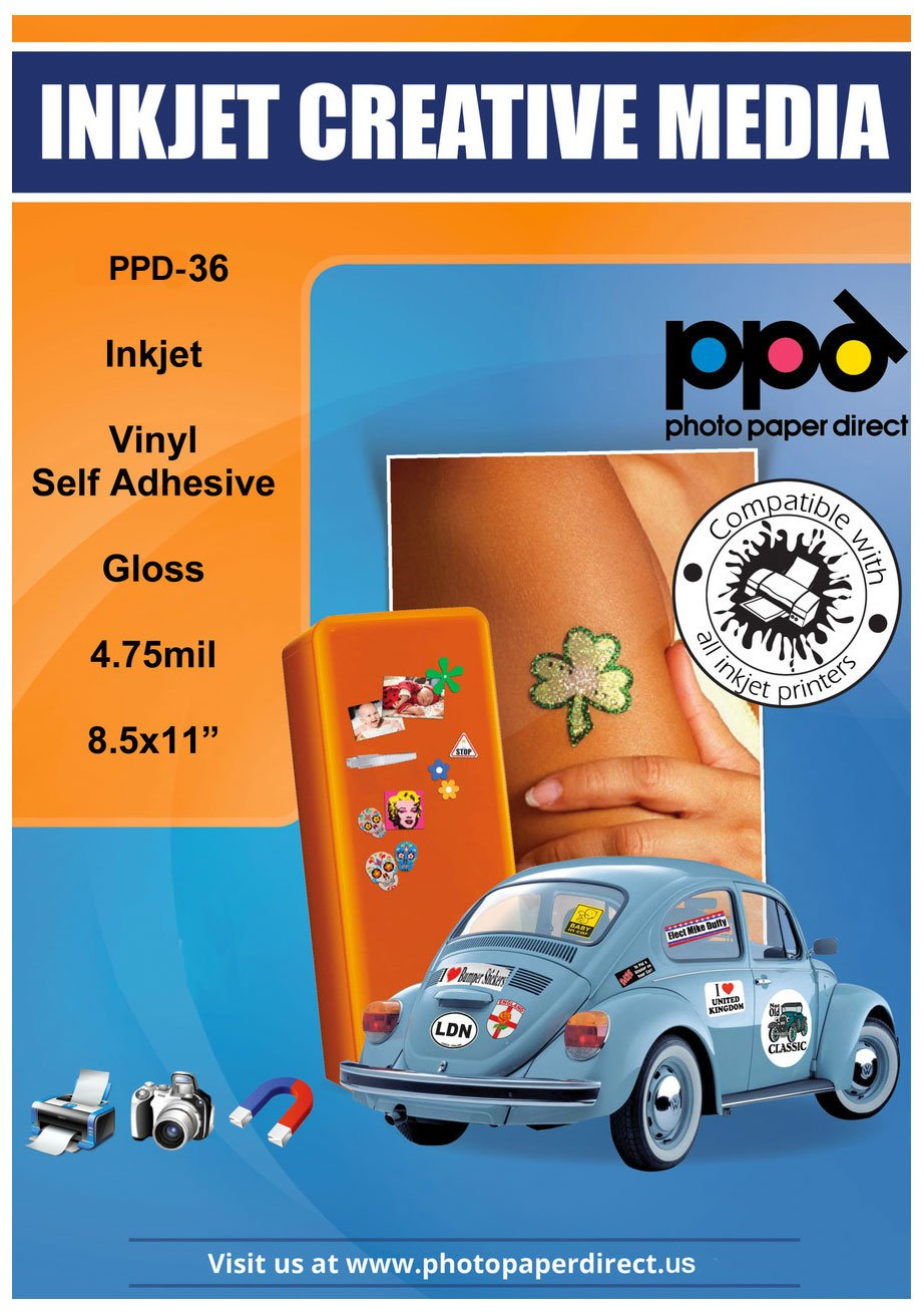 PPD Inkjet Glossy Creative Vinyl Stickers LTR 8.5 x 11 4.7mil x 20 Sheets (PPD036-20) Photo Paper Direct PPD-36-20