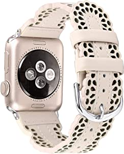 Secbolt Leather Bands Compatible with Apple Watch Band 38mm 40mm iWatch SE Series 6 5 4 3 2 1, Breathable Chic Lace Leather Strap for Women, Light Beige