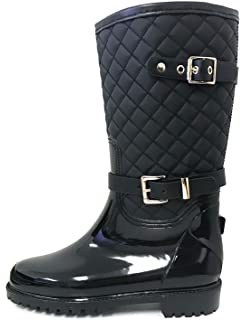 7d4b51dc4 G4U Women's Rain Boots Multiple Styles Color Mid Calf Wellies Buckle  Fashion Rubber Knee High Snow