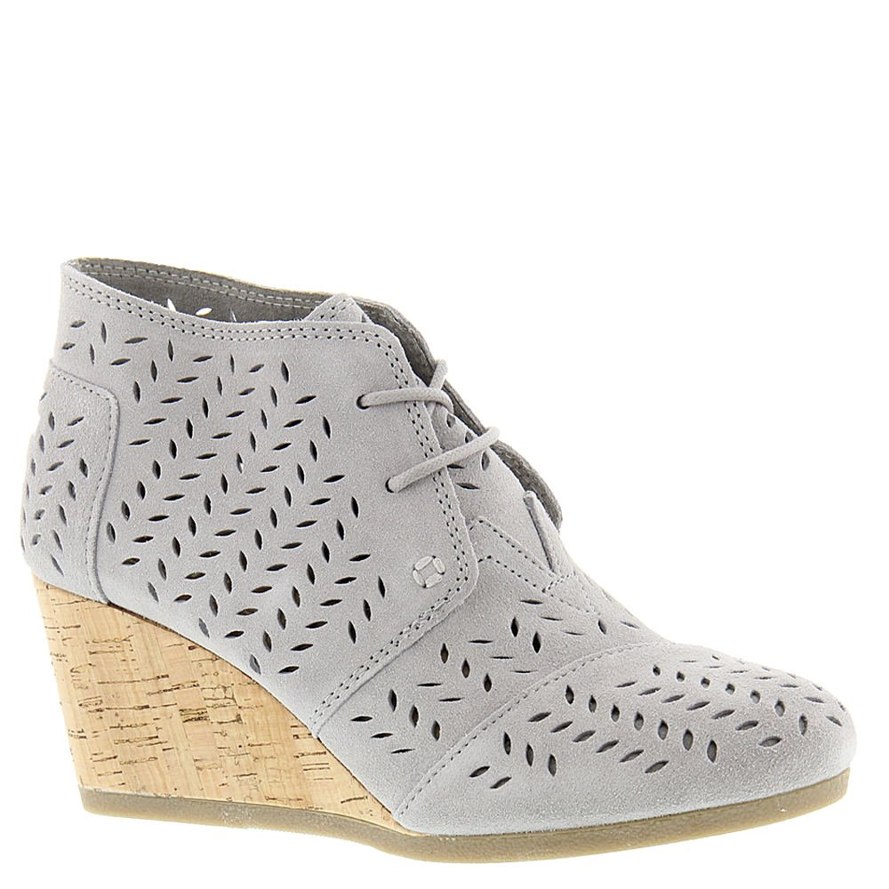 TOMS Women's Desert Wedge Bootie Drizzle Grey Suede Perforated Leaf Wedge by TOMS (Image #1)