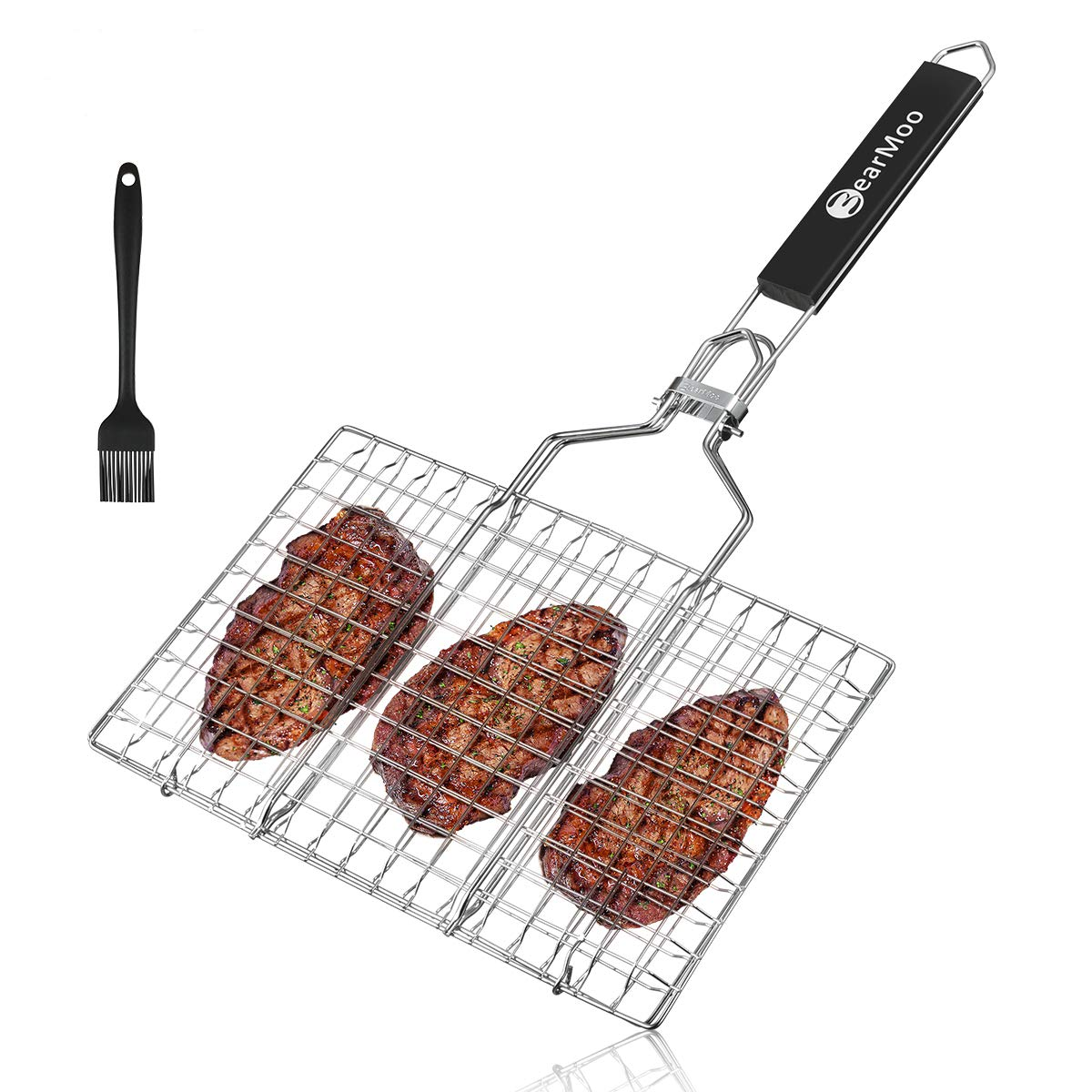 BearMoo Portable Stainless Steel BBQ Barbecue Grilling Basket with Removeable Handle for Fish, Vegetables, Steak, Shrimp, Meat, Food. Useful BBQ Tool【Bonus an Additional Sauce Brush + Carrying Pouch】