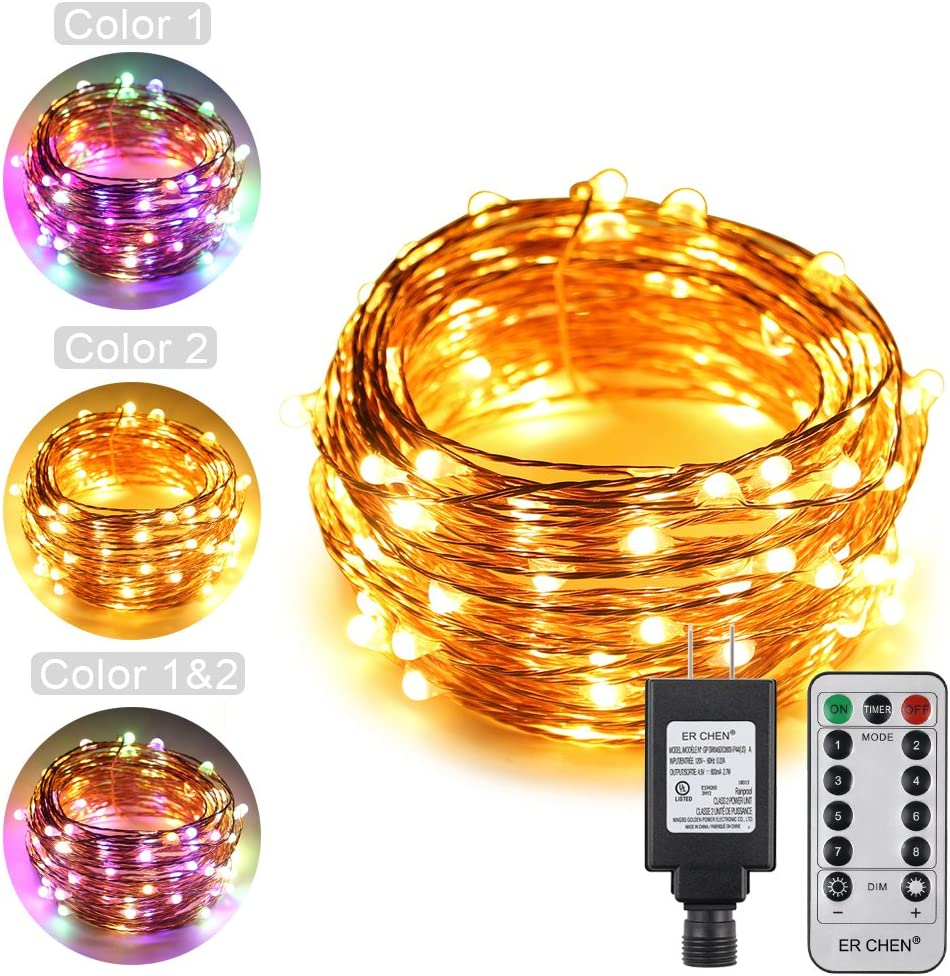 ErChen Dual-Color LED String Lights, 33 FT 100 LEDs Plug in Copper Wire 8 Modes Dimmable Fairy Lights with Remote Timer for Indoor Outdoor Christmas (Multicolor/Warm White)