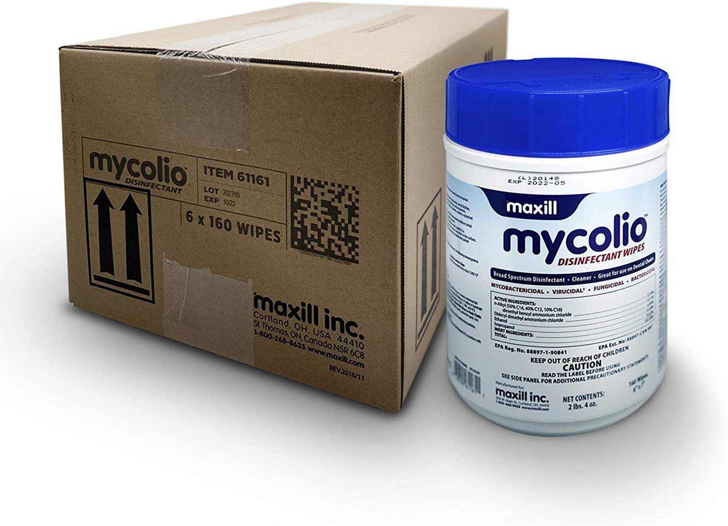"""Mycolio Hospital Grade Disinfectant Wipes - 6"""" x 7"""" - Disinfecting Antibacterial Sanitizing Cleaning Wipes - 6 canisters, 960 Wipes"""