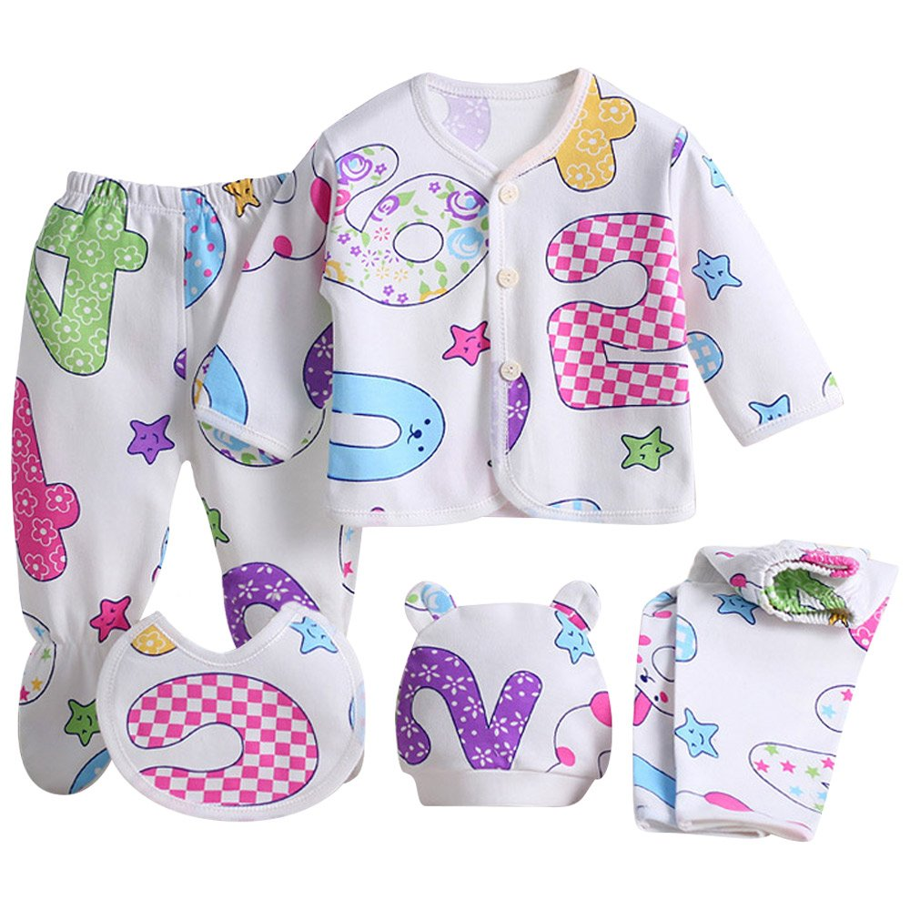 Charming-Life4U Wocharm Newborn Baby Girls Boy Grow Clothes Unisex Infant Playsuits 5PCS 8PCS