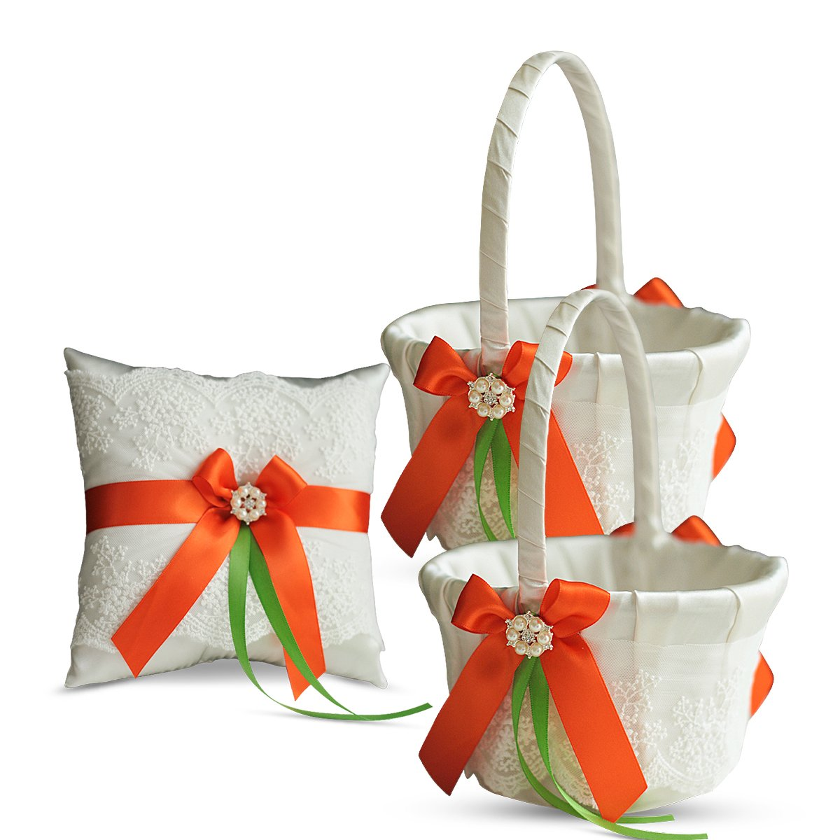 Alex Emotions Ivory Ring Bearer Pillow and Basket Set | Lace Collection | Flower Girl & Welcome Basket for Guest | Handmade Wedding Baskets & Pillows (Orange Lime)