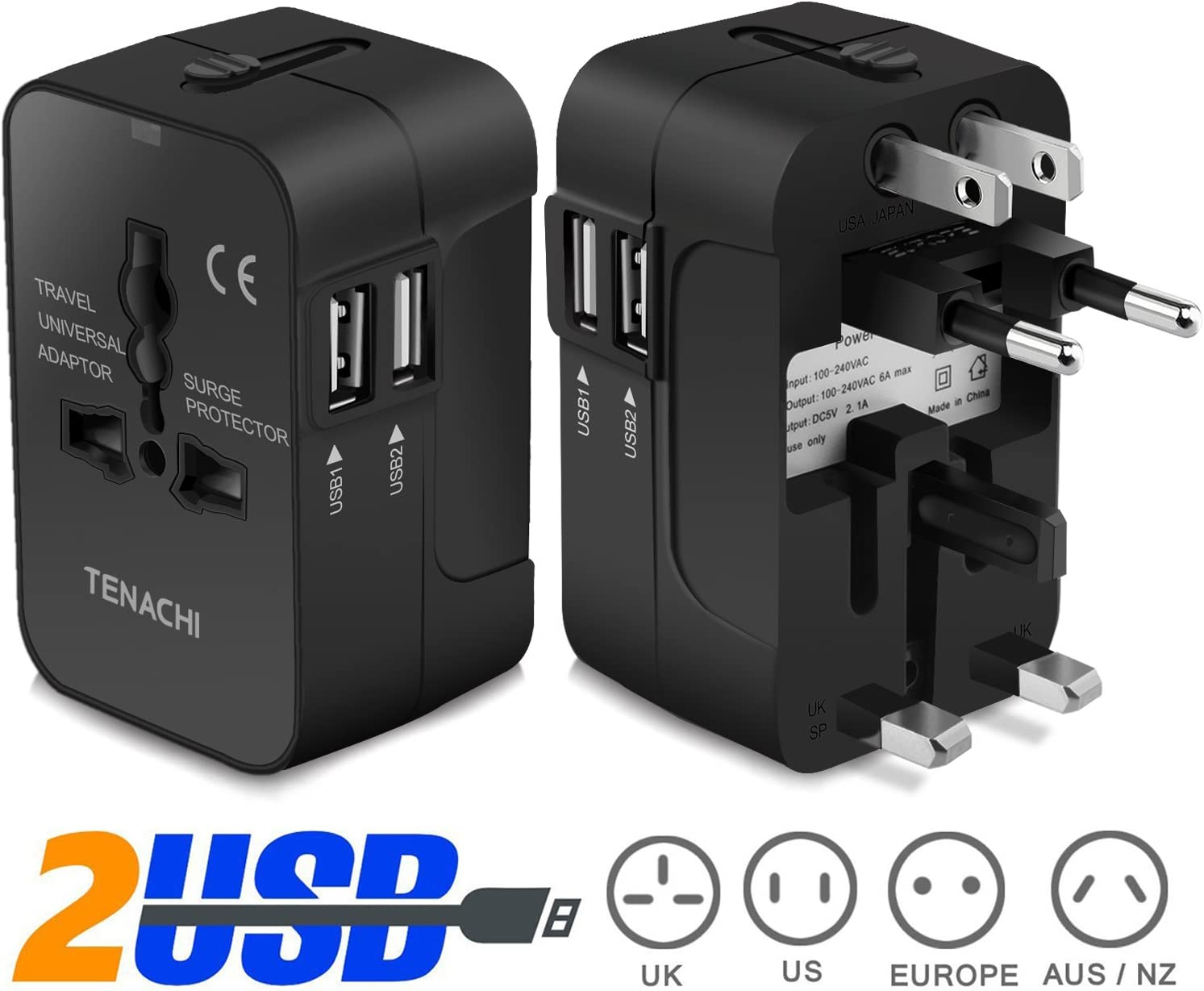 TENACHI Travel Adapter Worldwide All in One Universal Plug Adapter Wall Charger with Dual USB Charging Ports for USA EU UK AUS