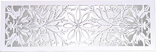 Creative Co-op Antique White Wood Carved Wall D cor Mirror