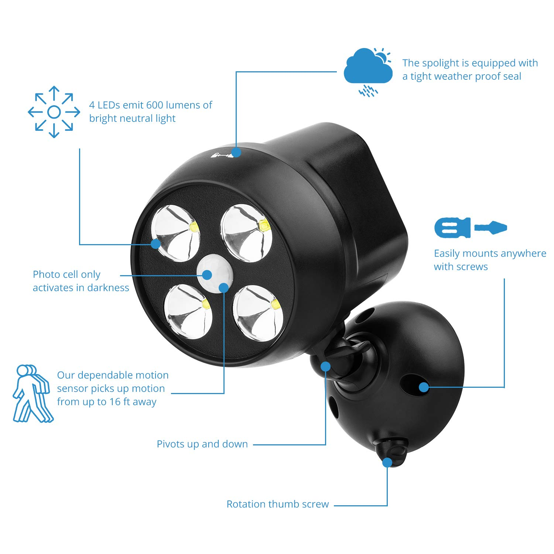 jardin Projecteur led avec capteur sans fil NICREW Lampe ext/érieure avec capteur de mouvement Imperm/éable /à leau Lumi/ère ext/érieure de S/écurit/é pour escalier Lot de 2 terrasse couloir
