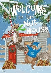 "Briarwood Lane Winter Nut House Garden Flag Squirrels Welcome 12.5"" x 18"""