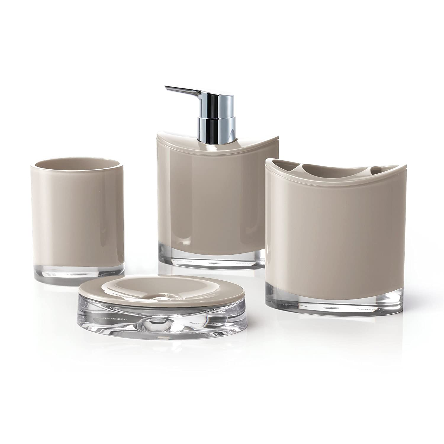 CDM product IMMANUEL Optic Designer 4-Piece Classy, Aesthetic Bathroom Accessory Set (includes Tumbler, Toothbrush Holder, Lotion Dispenser and Soap Dish), Made with Durable Acrylic – Variety of Colors - Brown big image