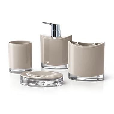 IMMANUEL Optic Designer 4pcs Bathroom Accessory Ensemble Set, Scratch Durable Acrylic Made Scratch Resistant Toiletries Organizer with Plastic Pump – Brown