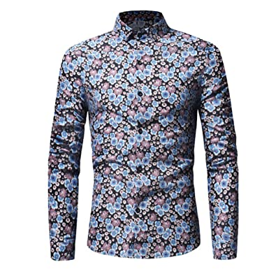 Herren-Hemd Ursing Männer Retro Floral Bedruckt Bluse Beiläufig Slim Fit  Tops Langarmhemd Business Freizeit 8c1b28fed2
