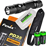 Fenix PD35 2015 TAC Edition 1000 Lumen CREE XP-L LED Tactical Flashlight with holster, lanyard, Two EdisonBright CR123A Lithium Batteries and EdisonBright battery box bundle