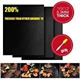 CookIdea Extra Thick Grill & Baking Mat, Set of 3, 100%Non-Stick, Durable Quality in 0.3mm Thickness, 16x13 inch, Comes with Free Silicone Brush