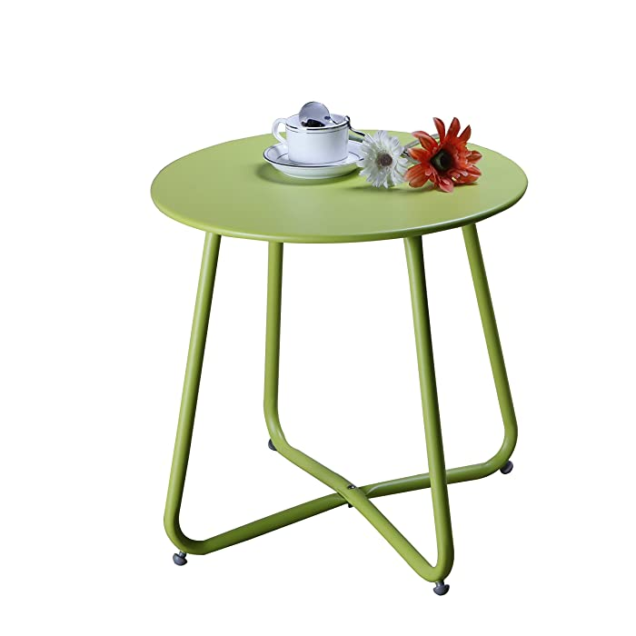 Grand patio Steel Patio Coffee Table, Weather Resistant Outdoor Side Table, Small Round End Table, Lime Green