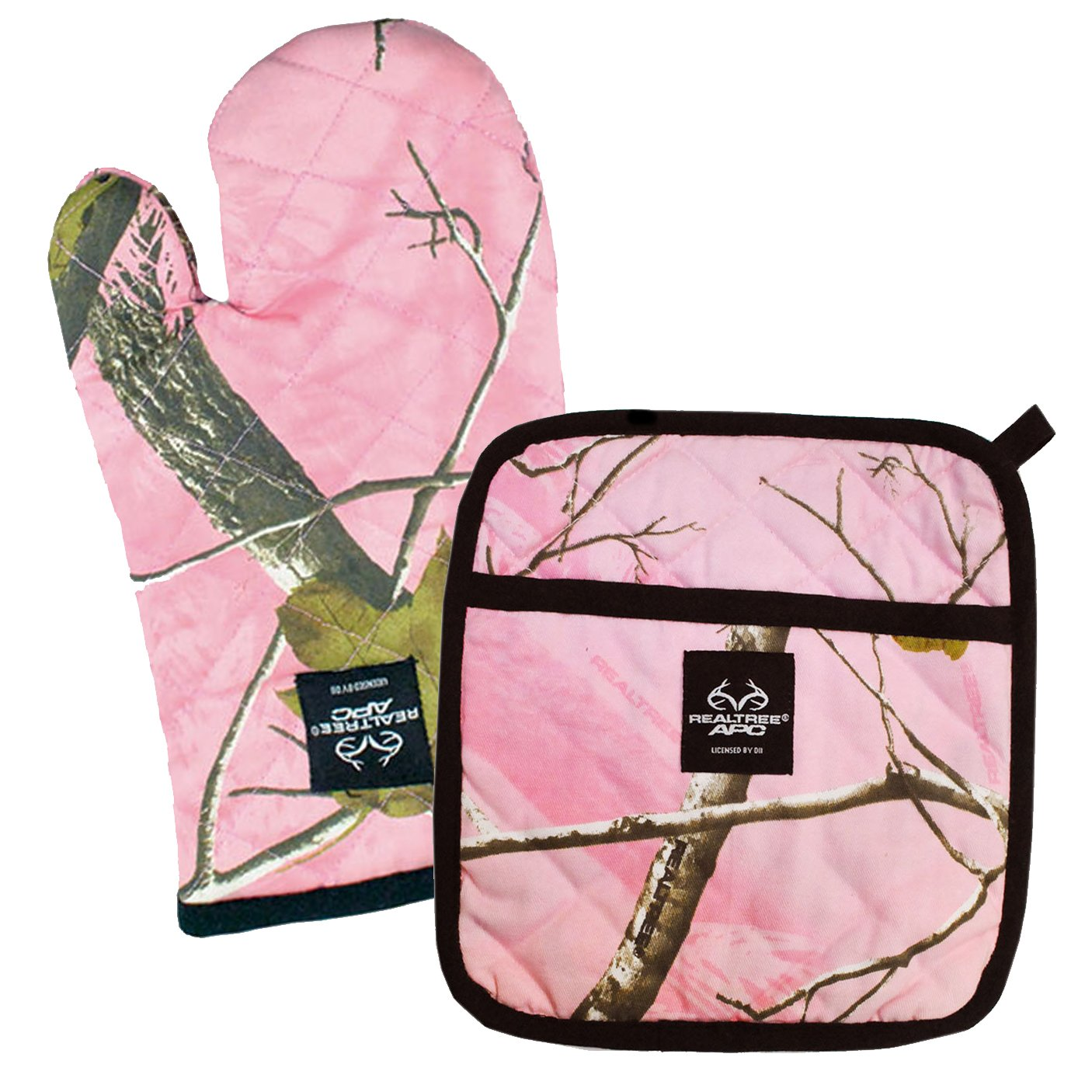 DII 100% Cotton, Machine Washable, Everyday Kitchen Basic, Realtree Printed Oven Mitt and Potholder Gift Set, Pink by DII