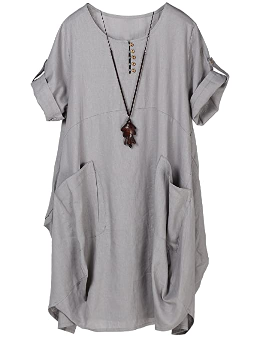 Minibee Women's Ruffle Loose Casual Midi Dresses with Pockets (M, Gray)