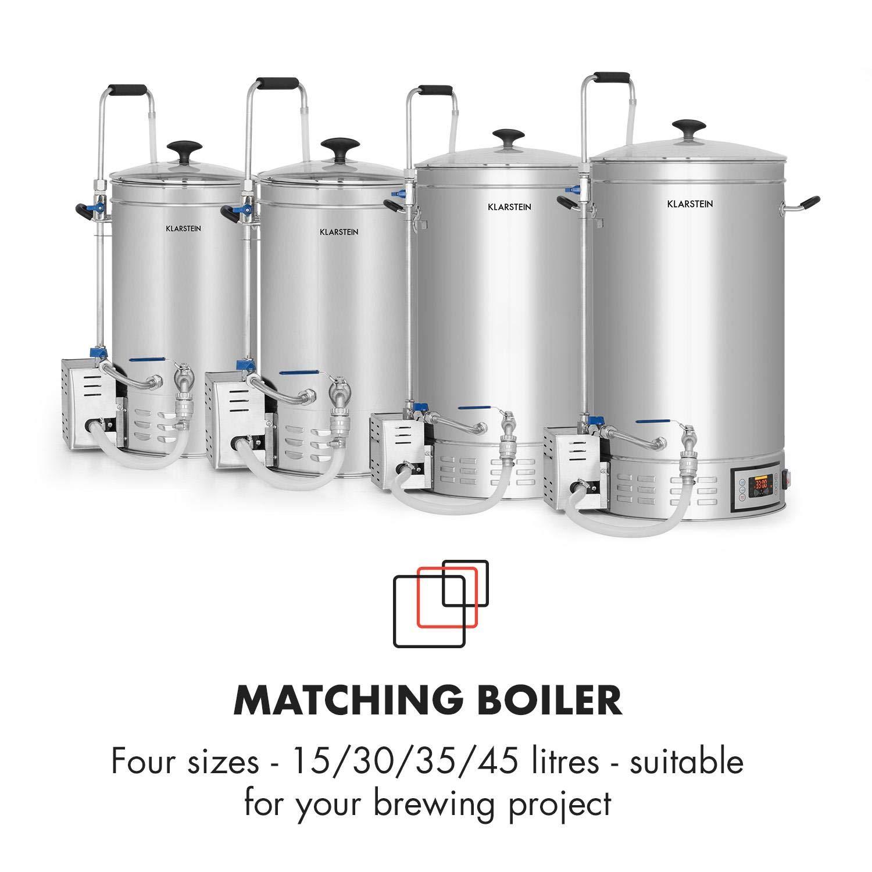 Klarstein Brauheld 35 Caldera de maceración • Juego de fermentación • Cerveza casera • 35 litros • 30-140 °C • 2500 W • Bomba de circulación • 4 pasos ...