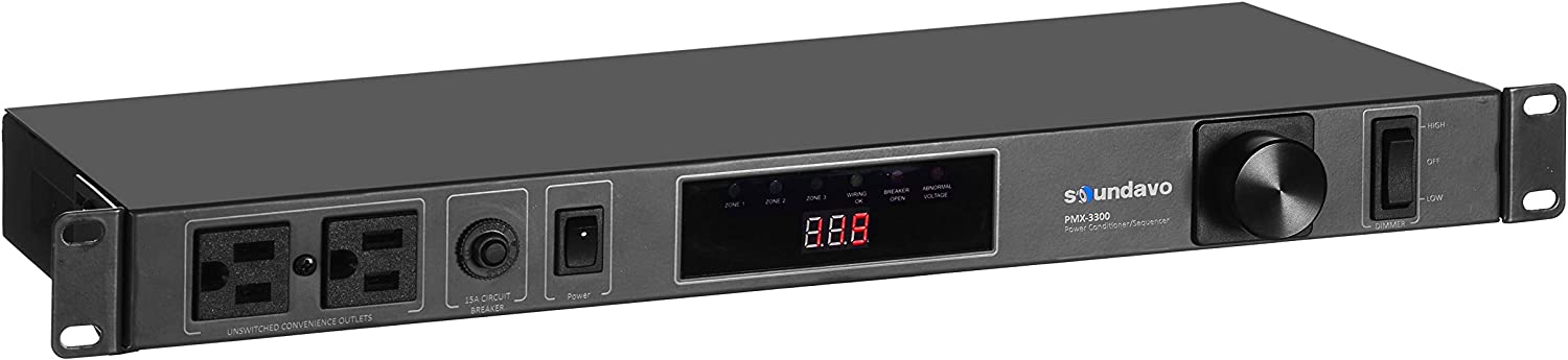 Soundavo PMX-3300 Power Conditioner and Surge Sequencer 10 Protected Outlets