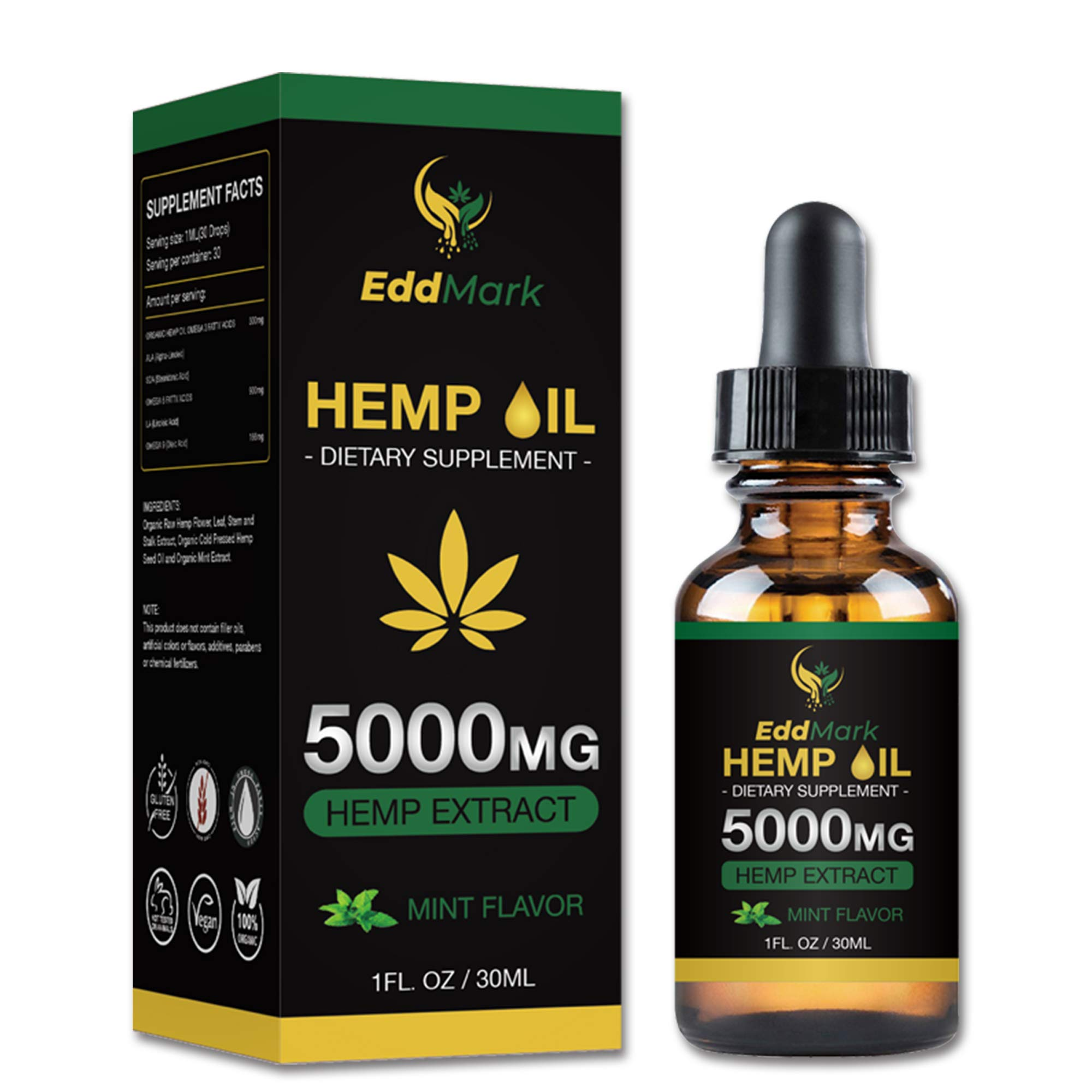 Hemp Oil Dietary Supplement for Pain Relief and Anxiety - 5000mg Hemp Oil Extract with Mint Flavor - 30Ml All-Natural Organic Hemp Drops - Can Improve Sleep, Skin - Anti-Inflammatory Properties by EddMark