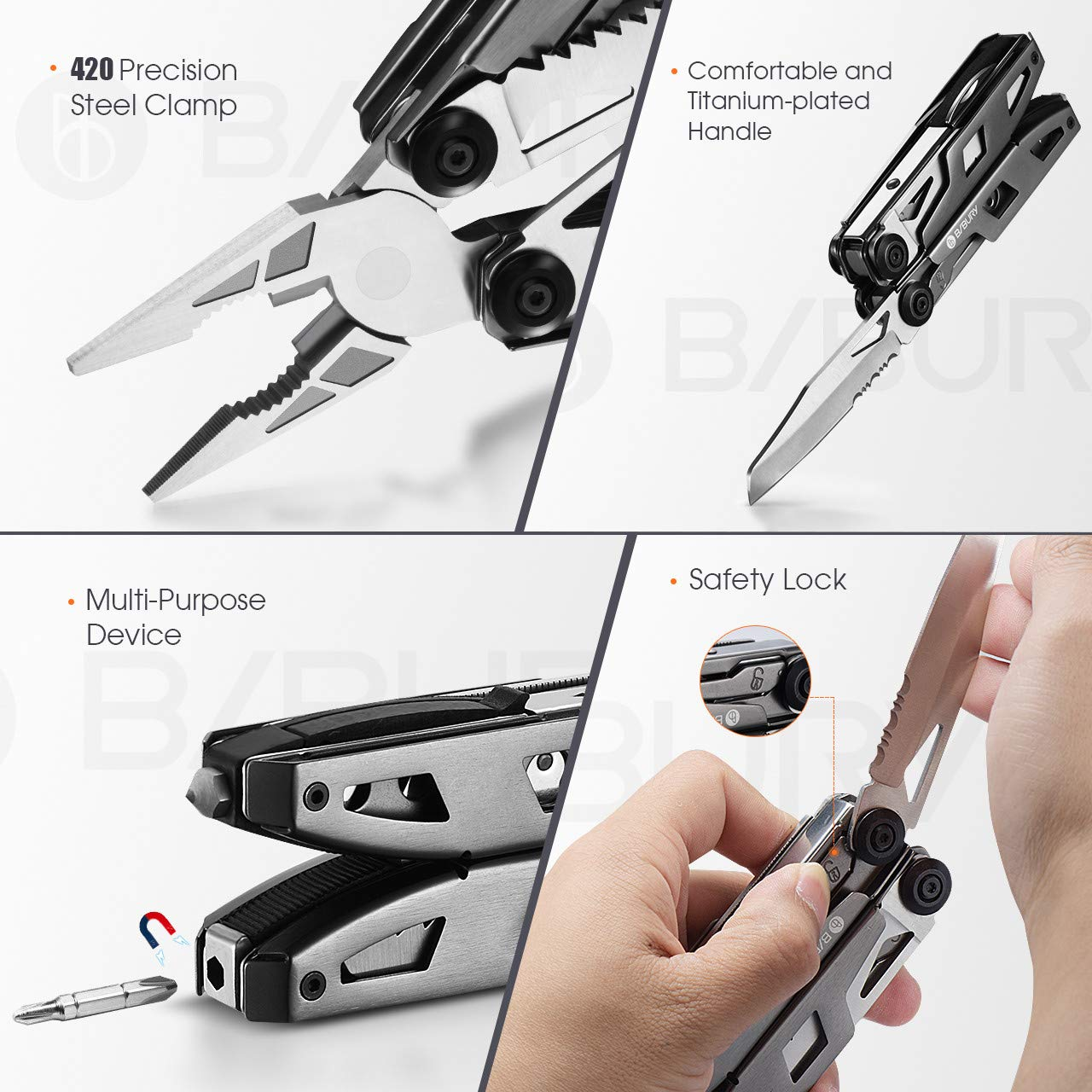 Multitool Pliers,Titanium 18-in-1 Multi-Purpose Pocket Knife Pliers Kit, Durable Stainless Steel Multi-Plier Multi-Tool for Survival, Camping, Hunting, Fishing and Hiking (Titanium 18 in 1) by Bibury (Image #5)