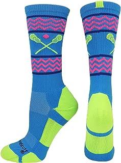 product image for MadSportsStuff Chevron Girls Lacrosse Socks with Lacrosse Sticks Athletic Crew Socks