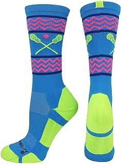 154b770432 MadSportsStuff Chevron Girls Lacrosse Socks with Lacrosse Sticks Athletic  Crew Socks